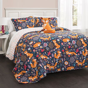 Pixie Fox Navy Three-Piece Twin Quilt Set