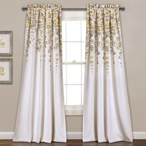 Yellow Weeping Flowers 84 x 52-Inch Room Darkening Window Curtain Set