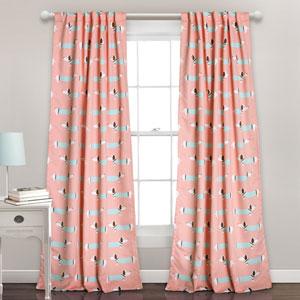 Pink Sausage Dog 84 x 52-Inch Room Darkening Window Curtain Set