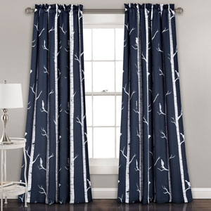 Navy Bird on the Tree 84 x 52-Inch Room Darkening Window Curtain Set