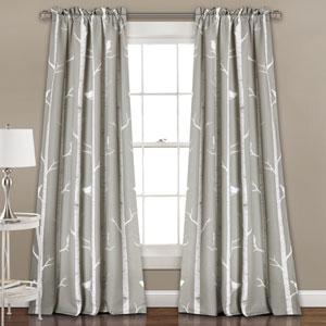 Gray Bird on the Tree 84 x 52-Inch Room Darkening Window Curtain Set