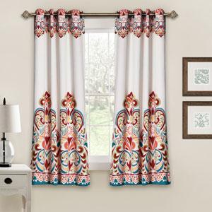 Clara Room Darkening 63 x 52-Inch Turquoise and Tangerine Window Curtain