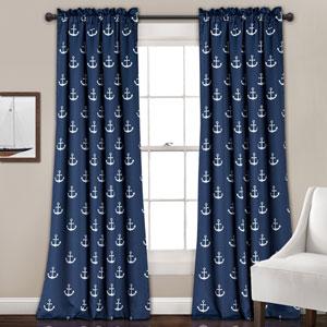 Navy Anchor 84 x 52-Inch Room Darkening Window Curtain Set