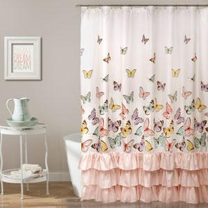 Flutter Butterfly Pink 72-Inch Shower Curtain