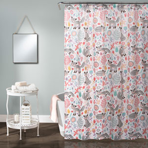 Pixie Fox Gray and Pink 72-Inch Shower Curtain