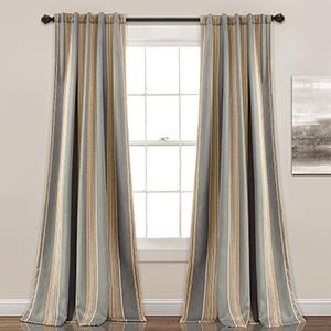 Julia Stripe Gray 84 x 52 In. Room Darkening Curtain Panel Set
