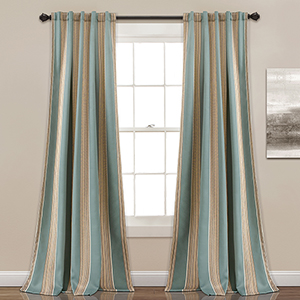 Julia Stripe Blue 84 x 52 In. Room Darkening Curtain Panel Set