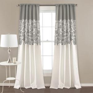 Estate Garden Gray 84 x 52 In. Room Darkening Curtain Set