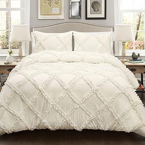 Ruffle Diamond Ivory King Three-Piece Comforter Set