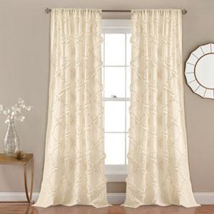 Ruffle Diamond Ivory 84 x 54 In. Curtain  Set