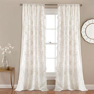Ruffle Diamond White 84 x 54 In. Curtain  Set