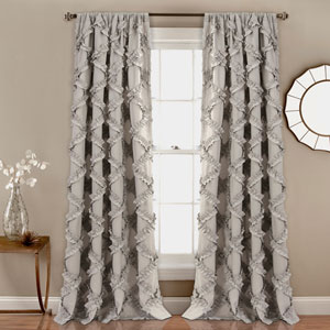 Ruffle Diamond Gray 84 x 54 In. Curtain  Set