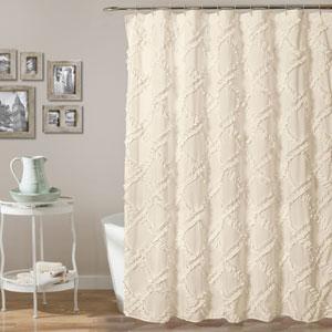 Ruffle Diamond Ivory 72 In. Shower Curtain