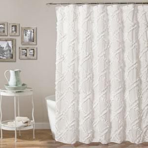 Ruffle Diamond White 72 In. Shower Curtain
