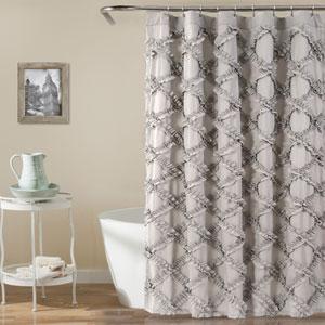 Ruffle Diamond Gray 72 In. Shower Curtain