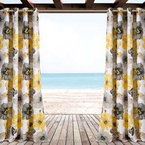 Edward Yellow and Gray Trellis 84 x 52 In. Outdoor Window Curtain Panel