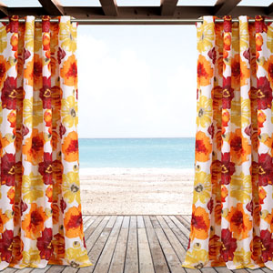 Leah Red and Orange 84 x 52 In. Outdoor Window Curtain Panel
