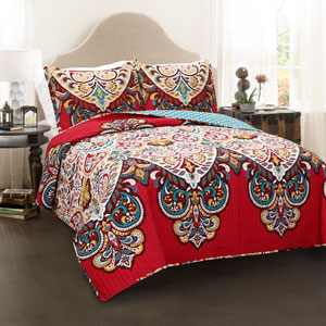 Boho Chic Red Full/Queen Three-Piece Quilt Set