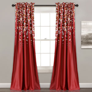 Weeping Flower Red 84 x 52 In. Room Darkening Window Curtain Set
