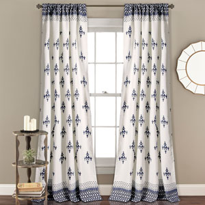 Budapest Navy Geometric 84 x 52 In. Room Darkening Window Curtain Set