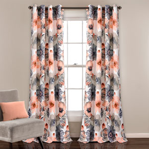 Leah Coral and Gray 84 x 52 In. Room Darkening Window Panel