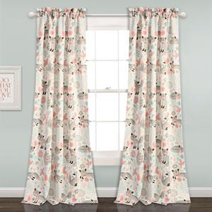 Pixie Fox Gray and Pink 84 x 52 In. Room Darkening Window Curtain Set