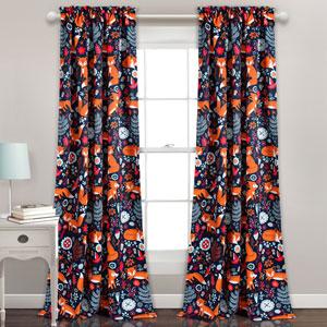 Pixie Fox Navy 84 x 52 In. Room Darkening Window Curtain Set
