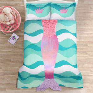 Mermaid Ruffle Pink and Purple Twin Two-Piece Comforter Set