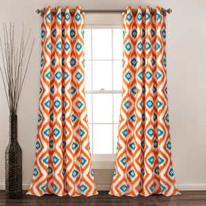 Diamond Turquoise and Orange Ikat 84 x 52 In. Room Darkening Window Curtain Set
