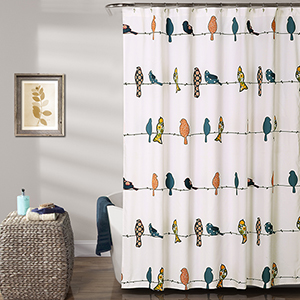 Rowley Birds Multicolor 72 In. Shower Curtain