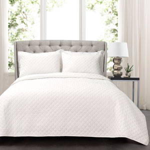 Ava Diamond King Three-Piece Oversized Cotton Quilt Set