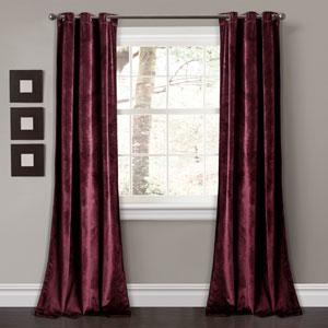 Prima Velvet Plum 84 x 38 In. Solid Room Darkening Window Curtain Set