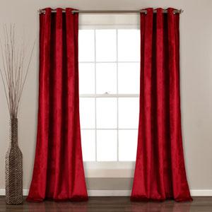 Prima Velvet Red 84 x 38 In. Solid Room Darkening Window Curtain Set