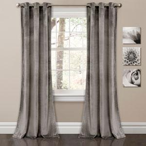 Prima Velvet Gray 84 x 38 In. Solid Room Darkening Window Curtain Set