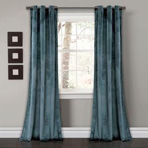 Prima Velvet Blue 84 x 38 In. Solid Room Darkening Window Curtain Set
