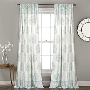 Teardrop Leaf Blue 84 x 52 In. Room Darkening Curtain Panel Set