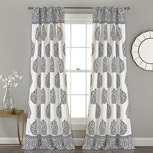 Teardrop Leaf Navy 84 x 52 In. Room Darkening Curtain Panel Set