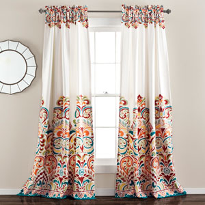 Clara Turquoise and Tangerine 95 x 52 In. Room Darkening Window Curtain Set