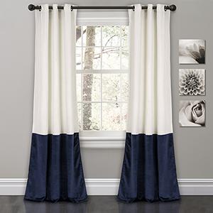 Prima Velvet Color Block White and Navy 84 x 38 In. Room Darkening Curtain Panel Set