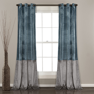 Prima Velvet Color Block Slate Blue and Gray 84 x 38 In. Room Darkening Curtain Panel Set