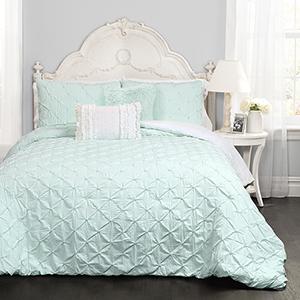 Ravello Pintuck Light Aqua Full/Queen Five-Piece Comforter Set