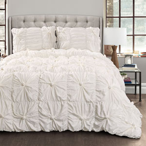 Bella White Full/Queen Three-Piece Comforter Set