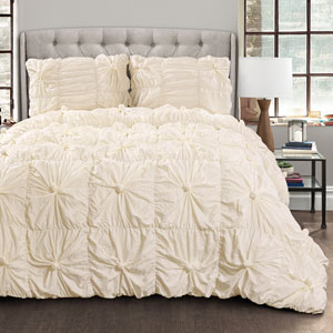 Bella Ivory Full/Queen Three-Piece Comforter Set