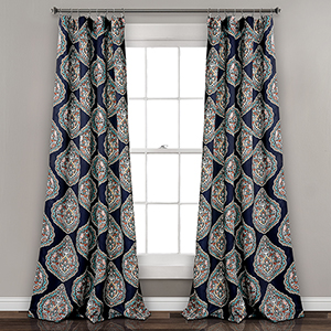 Harley Navy 84 x 52 In. Room Darkening Curtain Panel Set