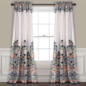 Clara Navy and Tangerine 84 x 52 In. Room Darkening Window Curtain Set