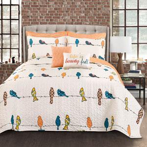 Rowley Birds Seven-Piece Multicolor King Quilt Set