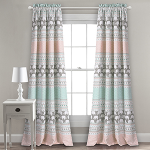 Elephant Stripe Turquoise and Pink 84 x 52 In. Room Darkening Curtain Panel Set