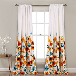 Percy Bloom Tangerine and Blue 84 x 52 In. Room Darkening Window Curtain Set