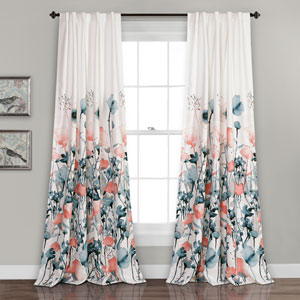 Zuri Flora Room Darkening Blue and Coral 84 x 52 In. Window Curtain Set
