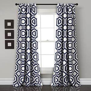 Octagon Blocks Navy 84 x 52 In. Room Darkening Curtain Panel Set
